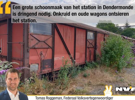 Een grote schoonmaak aan het station is dringend nodig. Onkruid en oude wagons ontsieren het station.